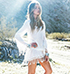 White Lace Dress – Tunic Styled Top / Fringed