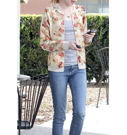Womens Zippered Jacket – Watercolor Floral Print / Scooped Neckline