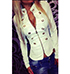 Womens Military Style Jacket – Off White / Metal Buttons
