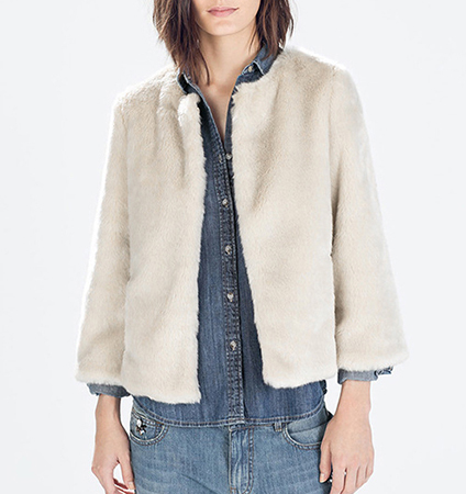 Womens Faux Fur Jacket – Off White / Three Quarter Length Sleeves