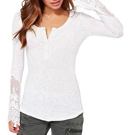 Womens Casual Shirt – Lace Insets / Formfitting Bodice