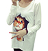 Womens Long Sleeved Shirt – Loose Fit / Feline Graphic