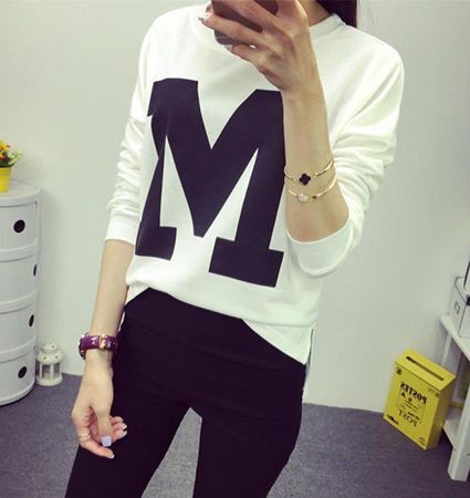 Womens Tee Shirt – White Black / The Letter M