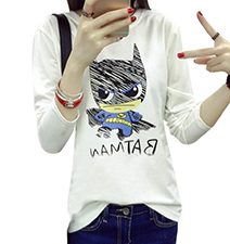 Womens Whimsical Long Sleeved Tee – Batman Logo / White