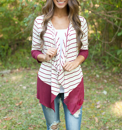 Womens Shirt with Attached Wrap – Plum and White / Asymmetrical Hemline