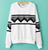 Womens Pullover Sweater – Long Sleeves / Geometric Print