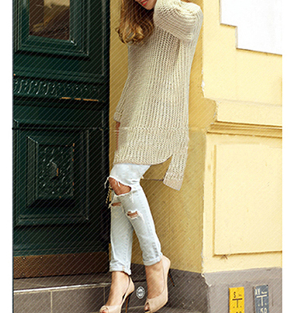 Womens Pullover Sweater – Off White / Elliptical Hemline