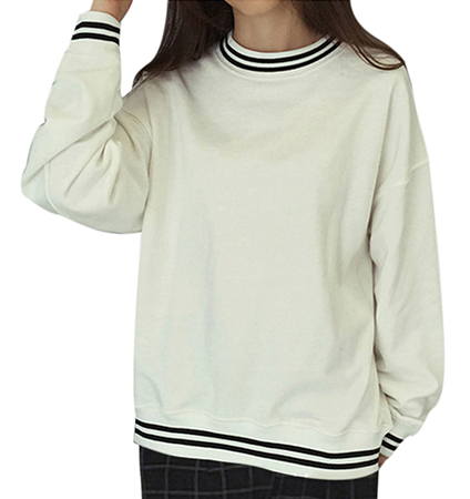 Womens Sweatshirt – Off White with Navy Trim / Crew Neck