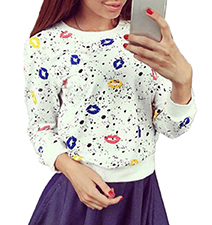 Womens Sweatshirt – White with Multicolored / Kiss Theme