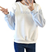 Womens Sweatshirt – White with Gray Sleeves / Knit Ribbed Cuffs
