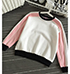 Womens Two Tone Sweatshirt – Long Sleeves / Crew Neck / Black Accent Trim