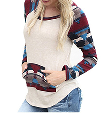 Womens T-Shirt – Raglan Sleeves / Kangaroo Pockets / Curved Hem