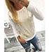 Womens T-Shirt – Long Sleeved / Sequined Styling / Gold Accent / Ribbed Hem and Cuffs