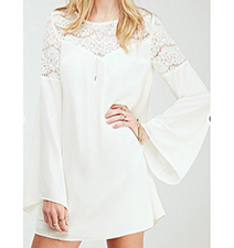 White Kaftan Top – Bell Bottom Sleeves / Lace Cut Out At The Top