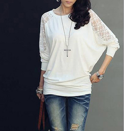 Womens Beautiful Bat Wing Lace and Grace Knit Top