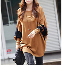 Womens Long Blouse – Butterscotch and Black / Raglan Sleeves