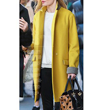 Womens Casual Coat – Mustard Color / Gray Trim