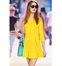 Women Yellow Colored Dress – Scuba Cut / Seventies Style