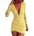 Yellow Lace Dress – Low V Cut Neckline / Long Sleeves / Short Hemline
