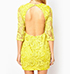 Yellow LaceDress – Mid Length Sleeves / Open Back / Button Closure / Lace Overlay