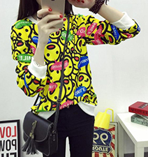Womens Cartoon Inspired Shirt – Three Quarter Length Sleeves / Korean Cartoon Print