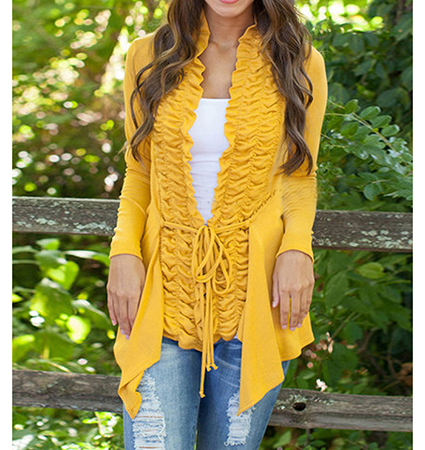 Womens Asymmetric Sweater – Ruffled Front / Yellow