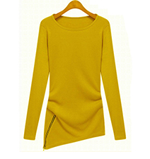 Womens Tunic – Yellow / Asymmetrical Hemline